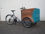 Modern style Tamar cargo trike fitted with optional mudguards, framelock, cargo box and graphics
