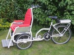 This trike is fitted with the mid-drive electric motor which has been replaced by the 250/500w rear wheel hub motor